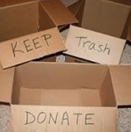Use boxes to decide what to keep, donate, or trash.